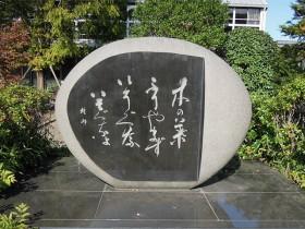 体育館前の記念小公園に建立された楸邨の句碑
