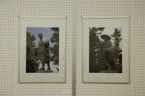 草加松並木にある松尾芭蕉とそら像(麦倉作ブロンズ)