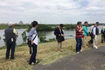 江戸川の堤防から(川の中ほどは中州ではなく旧対岸堤防跡とのこと)
