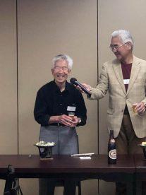 藤波正行さん(高16回)による乾杯のご発声と長谷川博会長(高29回)